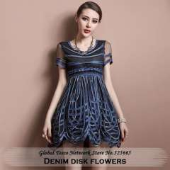 New collection 2014 spring and summer European disk flowers short sleeve denim mini dress for women casual dresses free shipping