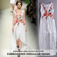 New 2014 spring and summer European style runway irregular long embroidery Flower floor-length beach dress for women white