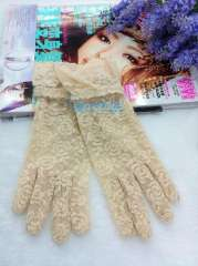 Summer women's sunscreen gloves lace decoration repair fashion all-match thin gloves