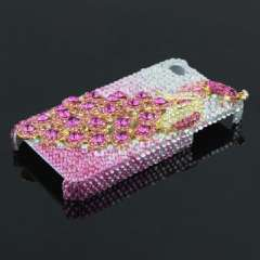 IPHONE 4G 4S high-end mobile phone shell | pink peacock | flash drilling | gradient
