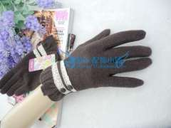 Christmas gift sweet lace buttons autumn and winter women's wool cashmere gloves