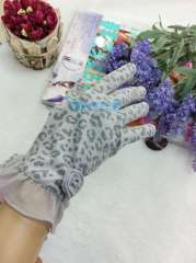 Free Shipping 2012 100% cotton sun gloves anti-uv uv sexy leopard print laciness women's gloves