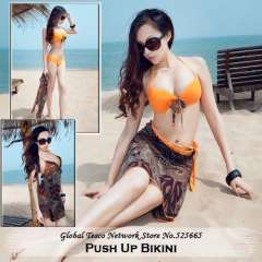 Summer New 2014 Steel Prop Chest Pad Push Up Bikini Set Swimwear Large size Fashion Yellow Rose Red Blue Swimming Suit For Women