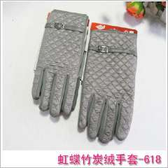 Fashion quality gloves autumn and winter bamboo velvet cotton-padded finger gloves dimond plaid square grid male gloves