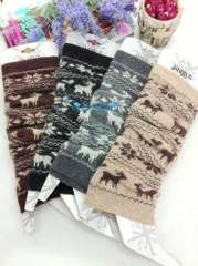 ffree shiping Ankle sock female wool jacquard vivi cuish set boot covers christmas deer pile ankle sock