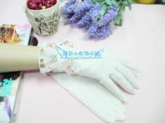 Whitethorn spring summer sunscreen gloves short 100% cotton breathable gauze uv female gloves