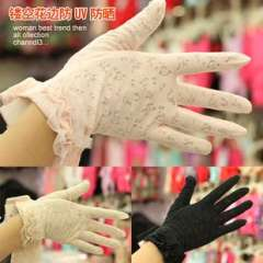 ffree shiping Lace princess laciness 100% cotton sunscreen short design female gloves