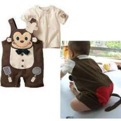 Free Shipping Monkey Chef Modeling Romper Bib + Short-sleeved T -shirt Two-piece Packages * Strap Is Adjustable