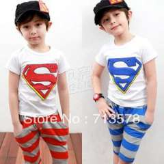 2013 summer children clothing sets boys clothing baby child short-sleeve for 4 years free shipping
