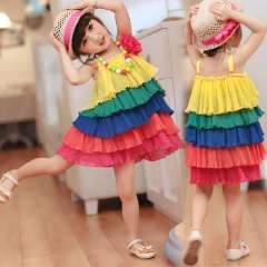 2013 children's clothing one-piece dress summer female child summer pressure pleated layered dress spaghetti strap princess