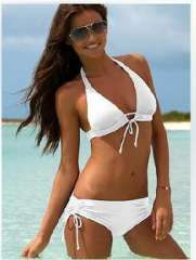 High Quality | Fashion split Halter lace | Bow swimsuit | White