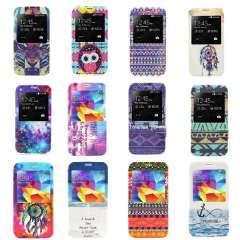 Unique Dreamcatcher Tiger Tribal Owl Galaxy Space View Window Leather Case for Samsung Galaxy S5 i9600 Snow