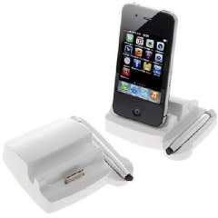 iPhone 4 / 4S ipad 1/2 charging cradle | PC with stylus white