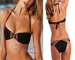 High Quality | Fashion ladies split swimsuit Halter tether | Black