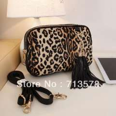 Genuine leather horse hair leopard print one shoulder small bag cross-body women's handbag savager tassel small bag day clutch