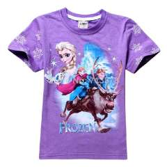 2014 new best-seller FROZEN t-shirt sisters Anna Elsa Short sleeve t shirts top tees \95-140cm 14 styles to choose, 6pcs\lot