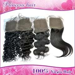 Virgin brazilian Natrual color lace top closure human hair lace closure straight hair in Free Shipping