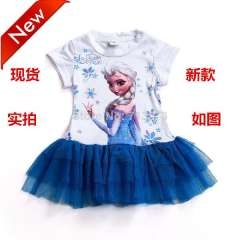 Frozen Dress Elsa&Anna Summer Dress For Girl 2014 New Hot Princess Dresses Brand Girls Dress Kids Clothing FZ03