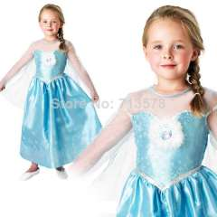 New Frozen Anna Elsa Costume & Wig Girls Princess Kids Fancy Dress Outfit