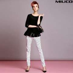 2014 spring and summer women's fashion dot print slim skinny white jeans pants