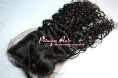 3.5'x4' Lace Front Top Closure Free Shipping 100% peruvian Virgin Human Hair Curly