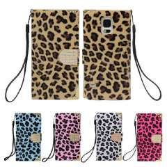 Unique Leopard Wallet Leather Hard Case Cover For Samsung Galaxy S5 i9600 Snow