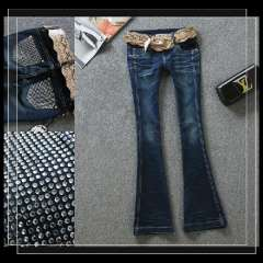 Female retro finishing wearing white rhinestones pocket slim speaker jeans belt