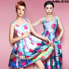 Fashion miuco 2014 spring and summer women's vintage color block polka dot print sleeveless vest sheds one-piece dress