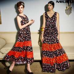 Miuco 2014 spring and summer women's fashion print series full dress V-neck expansion bottom one-piece dress