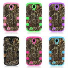 Unique Hot Straw Grass Mossy Hard Camo Cover Case For Samsung Galaxy S4 i9500 Snow