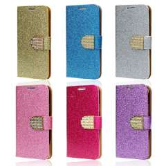 Unique Crystals Glitter Wallet Flip Cover for Samsung Galaxy S5 I9600 G900 Snow
