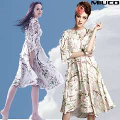 Miuco2014 fashion spring and summer women's elegant three-dimensional flower one-piece dress
