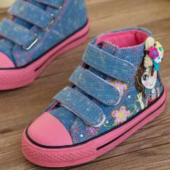 2013 autumn high child canvas shoes girls single shoes princess shoes baby shoes skateboarding shoes