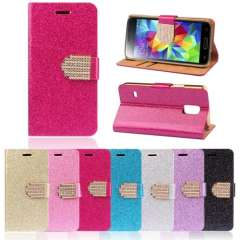 Unique Bling Crystals Glitter Wallet Flip Case Cover For Samsung Galaxy S5 Mini Snow