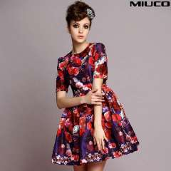 2014 spring and summer vintage oil painting print short-sleeve silk organza female slim one-piece dress