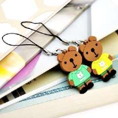 Bear couple phone pendant microphone ( one pair )