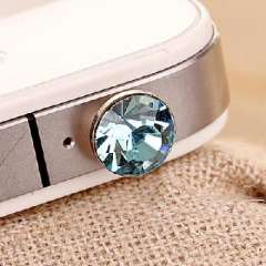 Apple iPhone 4S headphone plug headphone dust/diamonds for diamond-Ocean Blue