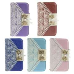 2015 Fashion Bow Magnetic Flip Wallet PU Leather Credit Card Case Cover for iPhone 5G 5 S Snow