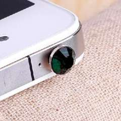 Apple iphone 4s diamond headphone plug / diamond headset dust plug - dark green