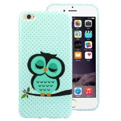 2014 Cute Cartoon Sleeping Owl Printed Green Soft TPU Back Cover Case For iPhone 6 4.7 Inch Snow