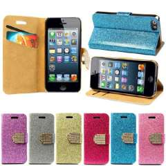 Unique Bling Glitter Wallet Flip Stand Cover Case For iPhone 5 5G 5S Snow