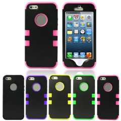 Unique 2in1 Combo Hybrid Rubber Matte Snap On Back Case Cover For iphone 5 5G 5S Snow
