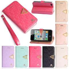 Unique PU Leather Magnetic Flip Wallet Stand Cover Case For iPhone 4G 4S 5G 5S Snow