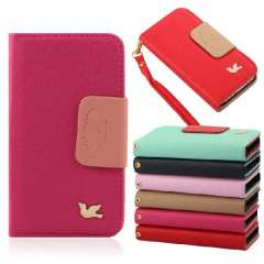 1PC PU Leather Combo Color Magnetic Folio Flip Stand Wallet Case Cover with Credit Card Slots For iPhone 5 5S 5G