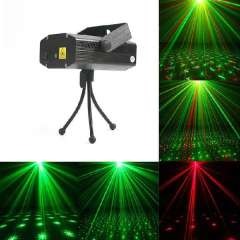 AC 110-240V 6 Mode Mini Projector R&G Mixed DJ Stage Light Disco Party Club Voice-control Laser Bar Lighting Show with Tripod
