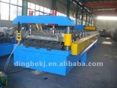 Wall panel roll forming machine.