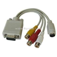 VGA to S-Video\ RCA TV Display Adapter Cable