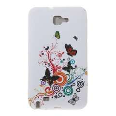 Samsung Galaxy Note GT-N7000 i9220 TPU water stickers | Flower and Butterfly pattern | White