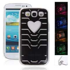 i9300 case of heart-shaped metal wire drawing texture | LED flash | calls induction Phone Case | Color Random