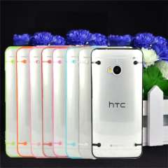 8 Colors Transparent Slim Fit Flexible TPU Phone Case Fashion Dirt-resistant Covers For HTC ONE M7 Free Shipping